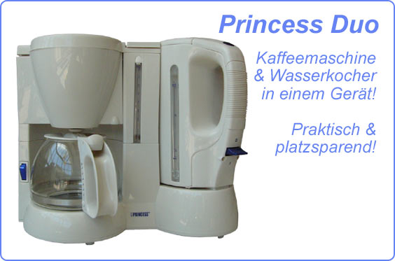 princess duo kaffeemaschine wasserkocher in einem ger t. Black Bedroom Furniture Sets. Home Design Ideas